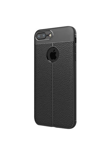 Microsonic iPhone 8 Plus Kılıf Deri Dokulu Silikon  Siyah
